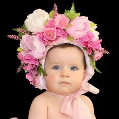Floral Bonnet. Newborn Sitter Baby Photo Prop by LolaluluPropShop