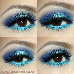 Dramatic Eye Make Up In hues of Blue.