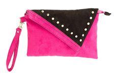 Wristlet bag made of pink and black alcantara with studds. Handmade by Anardeko