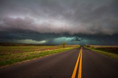 Title: On the Road. A storm awaits travelers on a southern Oklahoma highway.