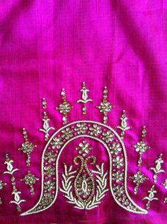 Db Hand Work Blouse Design, Simple Blouse Designs, Blouse Designs Silk, Bridal Blouse Designs, Blouse Patterns, Bead Embroidery Patterns, Embroidery Works, Hand Embroidery Designs, Embroidery Dress