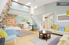 A garden apartment with colorful indoor climbing-wall in downtown Buena Vista, Colorado.