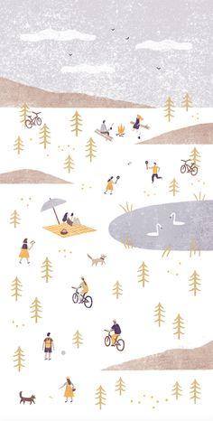 n a s t i a s l e p t s o v a — illustration for the postcard client: Ski a Bike...