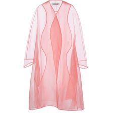 Organza Sheer Coat | Moda Operandi (2.420 BRL) ❤ liked on Polyvore featuring outerwear, coats, long sleeve coat, calf length coat and pink coat