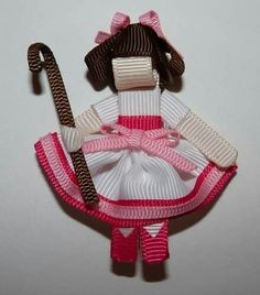 Mary Had a Little Lamb ribbon sculpture by Bubbly Bows Ribbon Hair Clips, Ribbon Art, Diy Hair Bows, Diy Ribbon, Ribbon Crafts, Ribbon Bows, Ribbons, Ribbon Projects, Crafts To Make And Sell