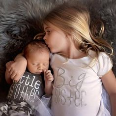 Infant Toddler Family Matching Outfit Big Sister Tee and Little Brother Onesie