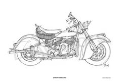 INDIAN CHIEF 1951 Original Handmade Drawing Fine by drawspots, $42.00 #art #motorcycles #custom