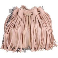Stella McCartney Falabella Shaggy Deer Small Bucket Bag Fringed Powder... ($1,180) ❤ liked on Polyvore featuring bags, handbags, shoulder bags, rose, leather handbags, fringe bucket bag, bucket bags, leather shoulder handbags and shoulder handbags