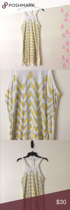 Free People Cotton Abstract Racerback Tank Dress Light and airy 100% cotton dress from Free People. Yellow abstract shape print on front. Solid back. Gently worn. Free People Dresses Midi