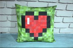 8-bit Heart, Link Health Bar Pillow Cover printed on Silky Faille, 100% polyester fabric, with a linen back. This pillowcase makes a great add to a kids room, Man Cave decor. Great for any gamer fan, Birthday, Christmas, or New Years gift.   ● PLEASE READ ALL INFORMATION TO THE END ●    ●▬▬▬▬▬▬ ITEM DESCRIPTION ▬▬▬▬▬▬●  ●This listing is for one pillow cover only.  ● Measurements: 16 x 16 Inches in diameter  ● INSERT NOT INCLUDED  ● 100% handmade in the United States with love.  ● Made from…