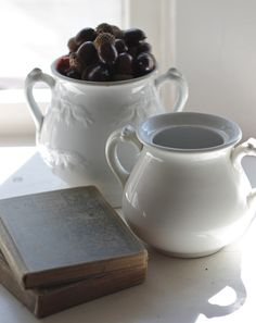 antique books and white ironstone. two things that I love, collect and use daily.