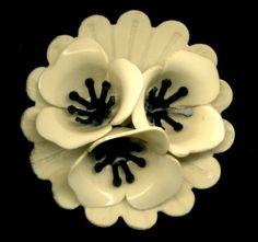 Vintage Celluloid Button...Extra Large Black & Cream 3D Flowers