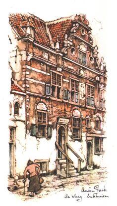 k77 Anton Pieck, Dutch Painters, Dutch Artists, World, Danish, Houses, Travel, Watercolor, Drawing