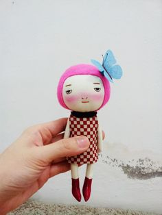 Handmade, pink hair girl,with a butterfly