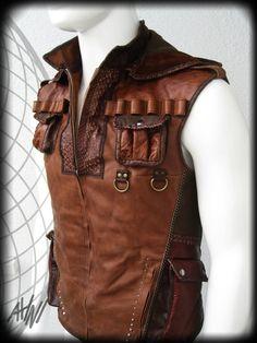 Indiana Jones Brown Leather Vest with Many Pockets, custom logo, detaching hood