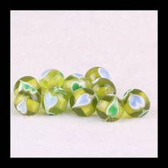10 Pcs Glass Heart BeadsGreen Beads by Girljewelrybox on Etsy