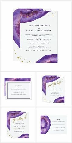 An elegant, glam purple watercolor geode wedding invitation suite with faux gold splashes and typography.