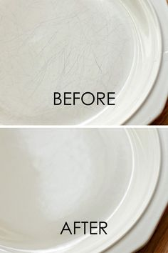 Use Barkeeper's Friend to remove scratches from dishware.