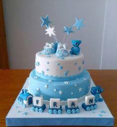Torta Baby Shower, Baby Shower Cakes For Boys, Baby Boy Cakes, Tea Party Baby Shower, Baby Boy Christening Cake, Baby First Birthday Cake, Birthday Cake Girls, Little Boy Cakes, Rodjendanske Torte