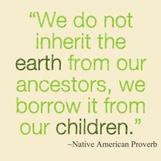 """An excellent quote for the site: """"We do not inherit the earth from our ancestors, we borrow it from our children"""" - Native American Proverb #GreenValues                                                                                                                                                      More"""