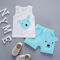 children Clothes Cartoon - Children's Clothing Cartoon Vest Shorts Set 03 Years Old Male Girls Cotton Summer Sport Set Baby Outfits Newborn, Baby Boy Outfits, Kids Outfits, Baby Boy Fashion, Kids Fashion, Fashion Dolls, Fall Fashion, Fashion Trends, Wholesale Baby Clothes