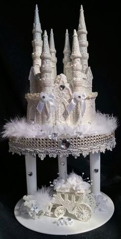 Cinderella Carriage Cake Stand | Cinderella Castle Coach Horses Lighted Cake Topper Birthday ...
