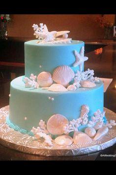 Sea themed cake-not a fan of the blue, but I like the shells.