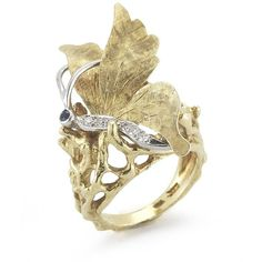 Pre-owned Cartier 18K Gold and Diamond and Sapphire Butterfly Ring ($8,500) ❤ liked on Polyvore
