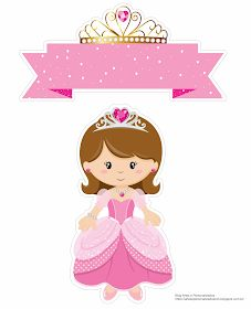 Baby Dolls Princes in Pink Free Printable Cake Toppers. Princess Cake Toppers, Princess Cookies, Princess Theme Birthday, Deco Stickers, Diy And Crafts, Crafts For Kids, Cake Templates, Baby Clip Art, Cake Toppers