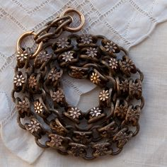 Antique Pocket Watch Chain with Daisies