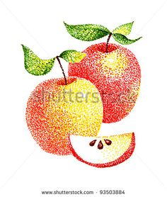 hand drawn pointillism illustration: Red apples with section
