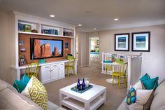 Alcantara Villas, a KB Home Community in Phoenix, AZ (Phoenix) Plan 1965 Loft Teen Lounge Rooms, Teen Game Rooms, Teen Playroom, Stairs In Living Room, Home Living Room, Kb Homes, Loft Room, New Home Builders, Family Room Design
