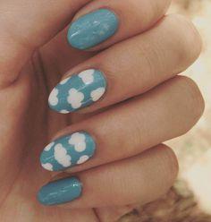 Color Celeste, Nails, Beauty, Ideas, Short Nail Manicure, Nail Manicure, Heavenly Nails, Minimalist Nails, Short Nail Designs