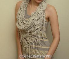 Crochet Pattern PDF - Triangle Cowl - Fringed Infinity Scarf
