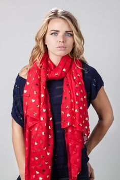Red Viscose Golden Hearts Long Scarf