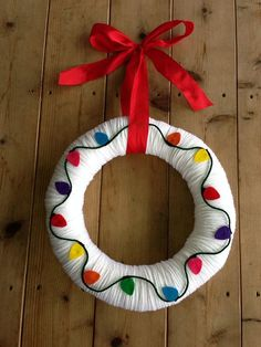Holiday Christmas Yarn Wreath with Felt Lights by TheArtsyBee