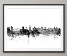 Newcastle Skyline Newcastle England Cityscape Art by artPause