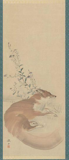 Kitsune 睡狐.  Japanese Edo period early 19th century. Mori Tessan (Japanese…