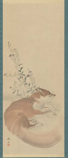 Kitsune 睡狐.  Japanese Edo period early 19th century. Mori Tessan (Japanese, 1775–1841)