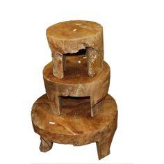 Sada 3 konferenčních stolků z teakového dřeva HSM Collection Mara