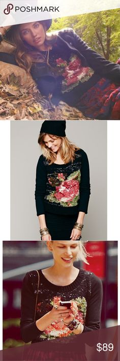 Free People Magic Rose Pullover Sweater A large, graphic rose graces the front of a hippie chic sweater detailed with smooth knit sleeves. Excellent Condition, Size Large. Free People Sweaters Crew & Scoop Necks