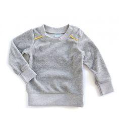 Grijze velours sweater met gele bies - Mundo Melocoton