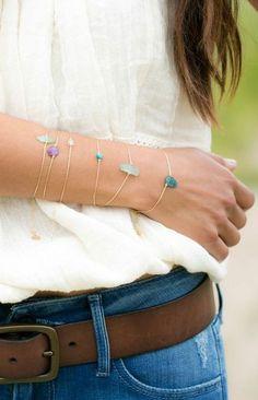 Layered gem bracelets