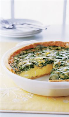 Spinach and Gruyere Quiche:  Fat-free half-and-half and refrigerated egg product squeeze fat and calories out of this delicious dish.