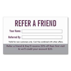Salon Referral Business Card by inspyre design . refer a friend