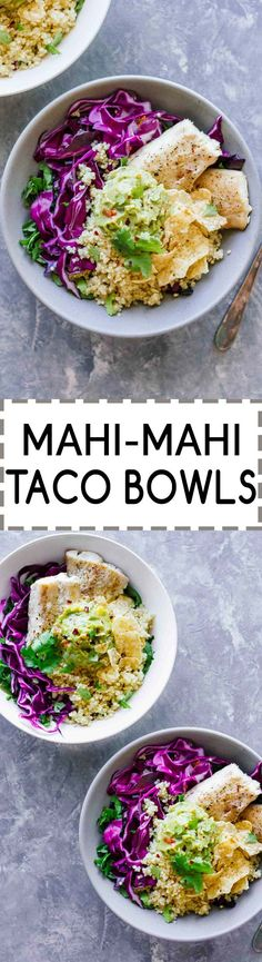 Mahi-Mahi Taco Bowls! Gluten-free, under 30 minutes, and perfect for game day. Topped off with delicious guacamole!
