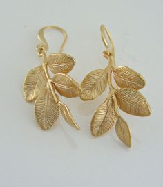 Gold Earrings  Leaf Earrings  Nature Jewelry by FreshJewelryDesign