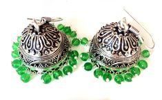 Green Silver Earrings,jhumkas,Bridal Chandelier earrings,kucchi earrings,Indian…