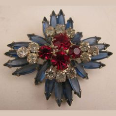 Vintage Red, White & Blue Rhinestone Brooch