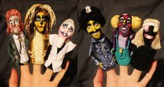 The Marvellous Luxury Comedy characters as fingerpuppets
